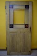 Historisches Zimmertürblatt, einflügelig, Kiefernholz, filigrane Holzsprosse, Originalverglasung mit vier Buntglasecken