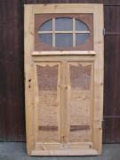 Historische Haustüre der 1920er Jahre, sauber entlackt, Perlglasscheibe, Nadelholz