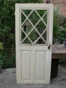 Zimmertüre mit seltener Holzsprosse und schönem Schlierglas