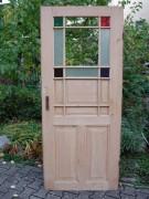 Zimmertür mit Holzsprosse, Ätzglas, Buntglas