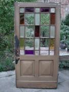 Antike Zimmertür, mit Holzsprosse, großem Glasfeld