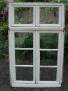 Sprossenfenster zweiflügelig, mit zweiflg. Oberlicht und Rahmen, Eichenholz.