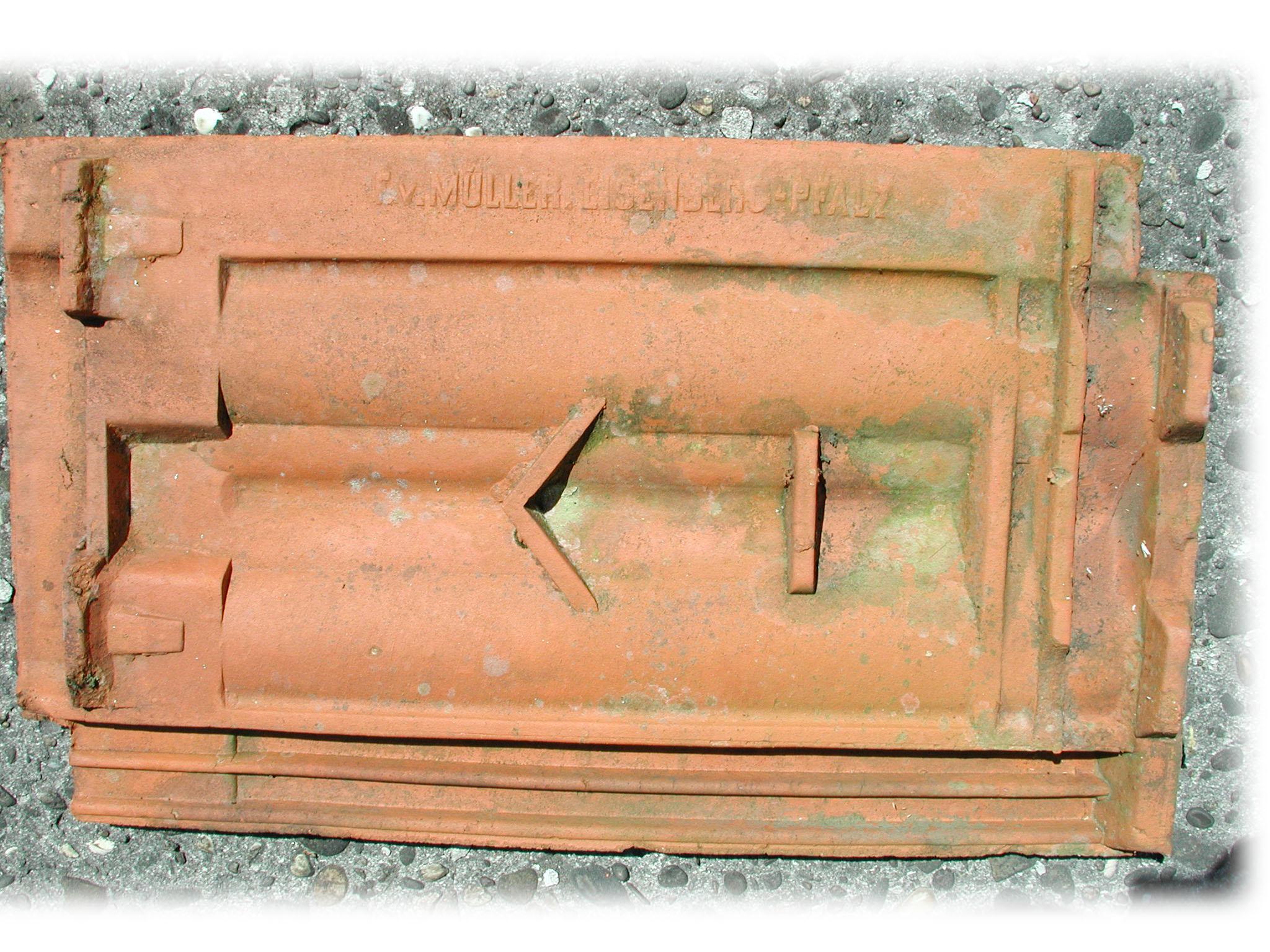 Historische / Antike Dachziegel F.v. Müller Eisenberg/Pfalz
