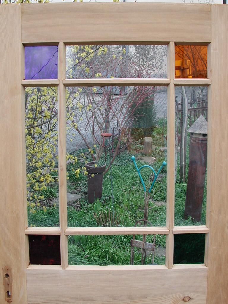 Historisches Zimmertürblatt, einflügelig, Nadelholz, Holzsprosse, komplett intakte Originalverglasung.