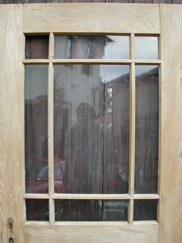 Historisches Zimmertürblatt, einflügelig, Nadelholz, Holzsprosse, Originalverglasung.